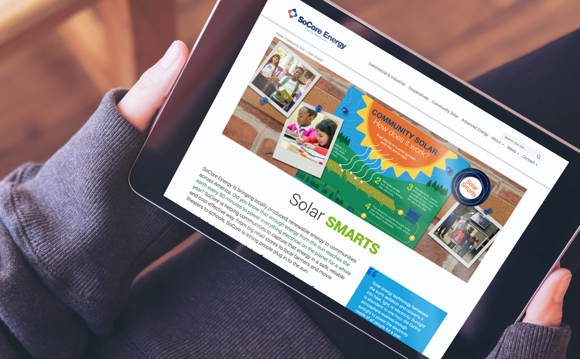 SoCore solar smarts web page image