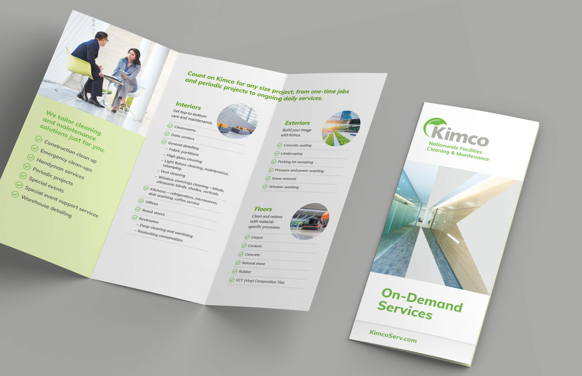 Kimco trifold brochure opened to show inside and cover