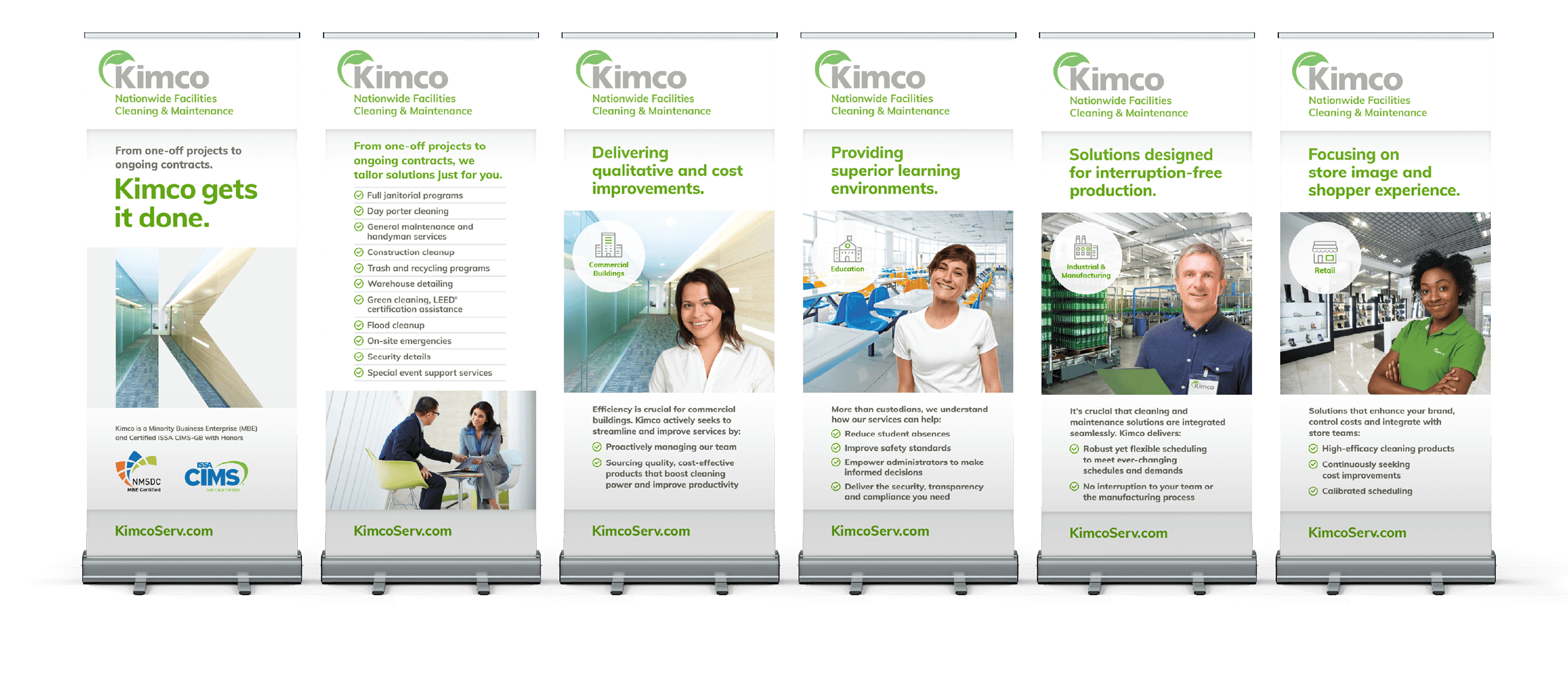 Six Kimco retractable banners lined up