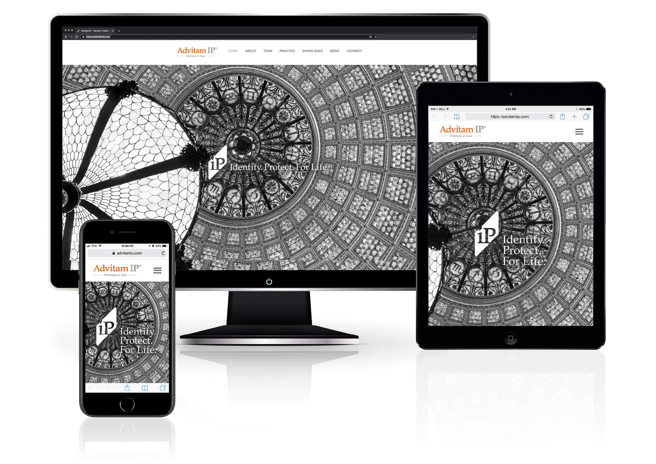 Multiple devices showcasing Advitam IP's Responsive website design